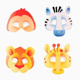 Juego de 8 Máscaras Animales de la Selva