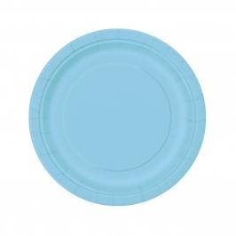Juego de 8 Platos Azul Claro 17 cm