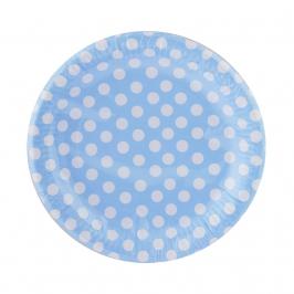 Juego de 8 Platos Azules con Lunares Blancos 23 cm - My Karamelli