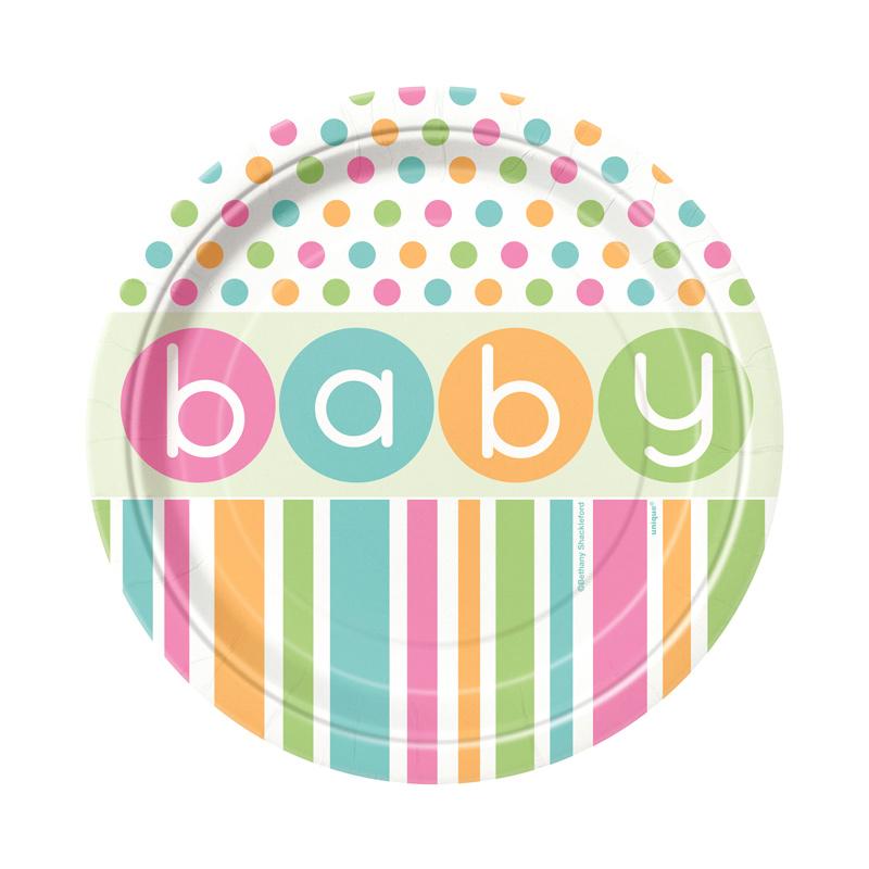 Juego de 8 Platos Baby Colores Pastel 17 cm