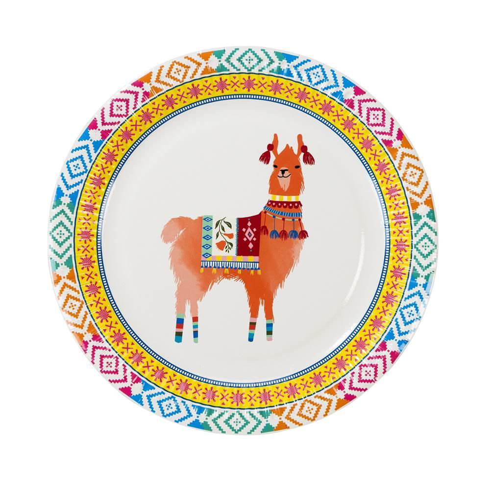 Juego de 8 Platos Boho Mix Llama 22 cm