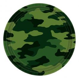 Juego de 8 Platos Camuflaje Militar 23 cm
