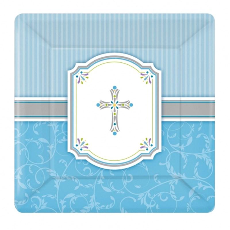 Juego de 8 platos Comunión Azul 25cm - My Karamelli