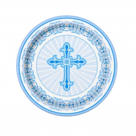 Juego de 8 Platos Comunión Cruz Azul 17 cm