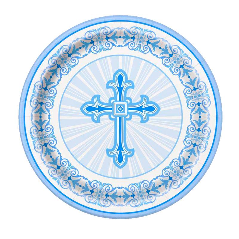 Juego de 8 Platos Comunión Cruz Azul 22 cm