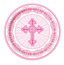 Juego de 8 Platos Comunión Cruz Rosa 22 cm