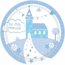 Juego de 8 Platos Comunión Iglesia Azul