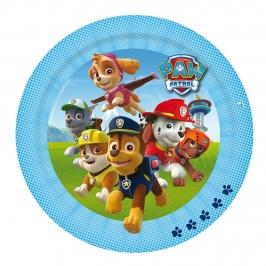 Juego de 8 platos con personajes de la Patrulla Canina de 23 cm en azul