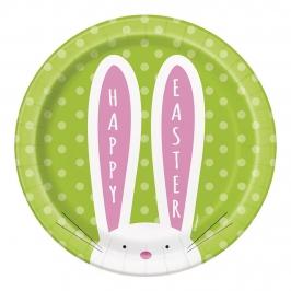 Juego de 8 Platos Conejo de Pascua 17cm