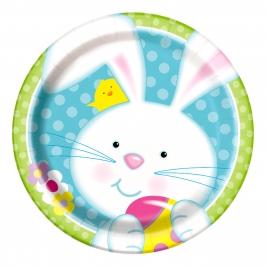 Juego de 8 Platos Conejo de Pascua 22cm