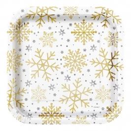 Juego de 8 Platos Copos de Nieve 22 cm