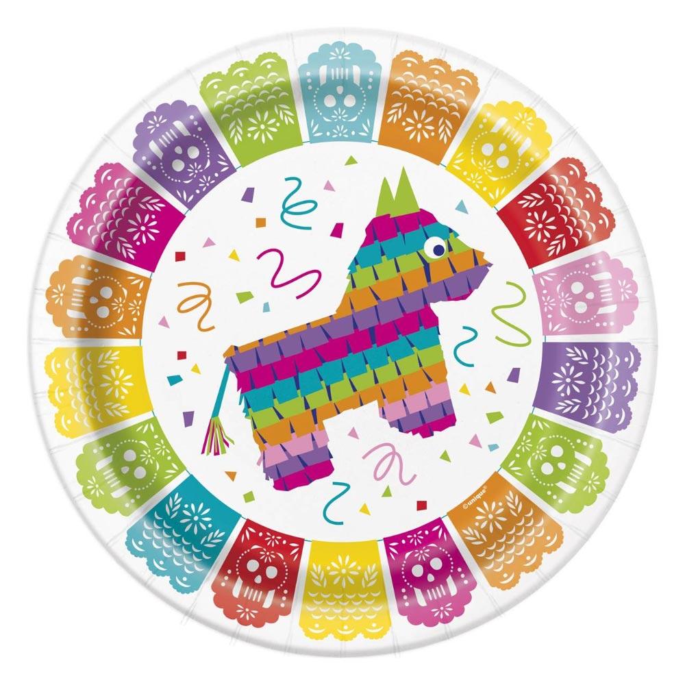 Juego de 8 platos de cartón con diseño mexicano de 22 cm