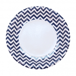 Juego de 8 platos de cartón en zig zag en tonos azul marino y blanco de 23 cm