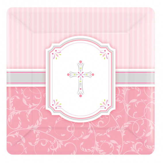 Juego de 8 platos de comunión rosa 17cm