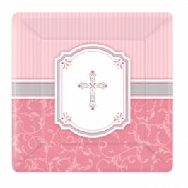 Juego de 8 platos de comunión rosa 25cm