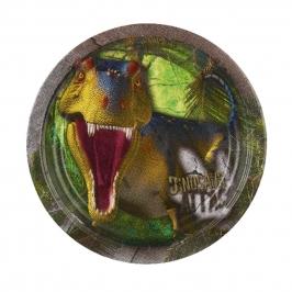 Juego de 8 Platos Dinosaurios Attack 23 cm