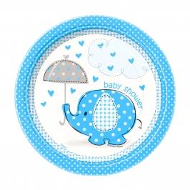 Juego de 8 Platos Elefante Azul 17 cm