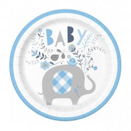 Juego de 8 Platos Elefante Azul 22 cm