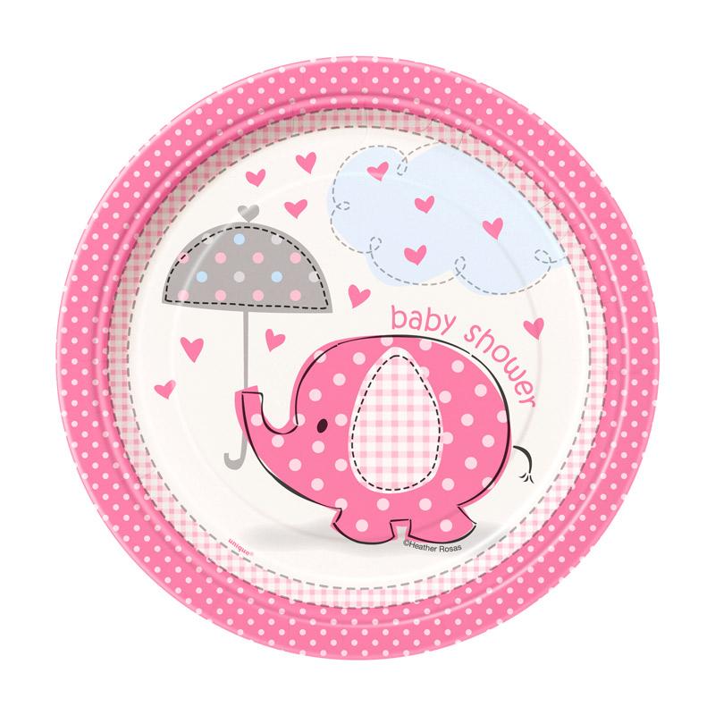 Juego de 8 Platos Elefante Rosa 17 cm