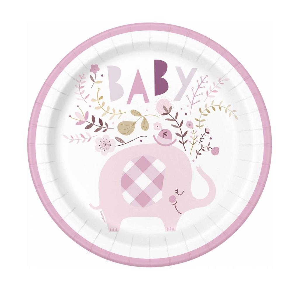Juego de 8 Platos Elefante Rosa 22 cm