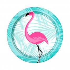 Juego de 8 Platos Flamingo Rosa 17cm