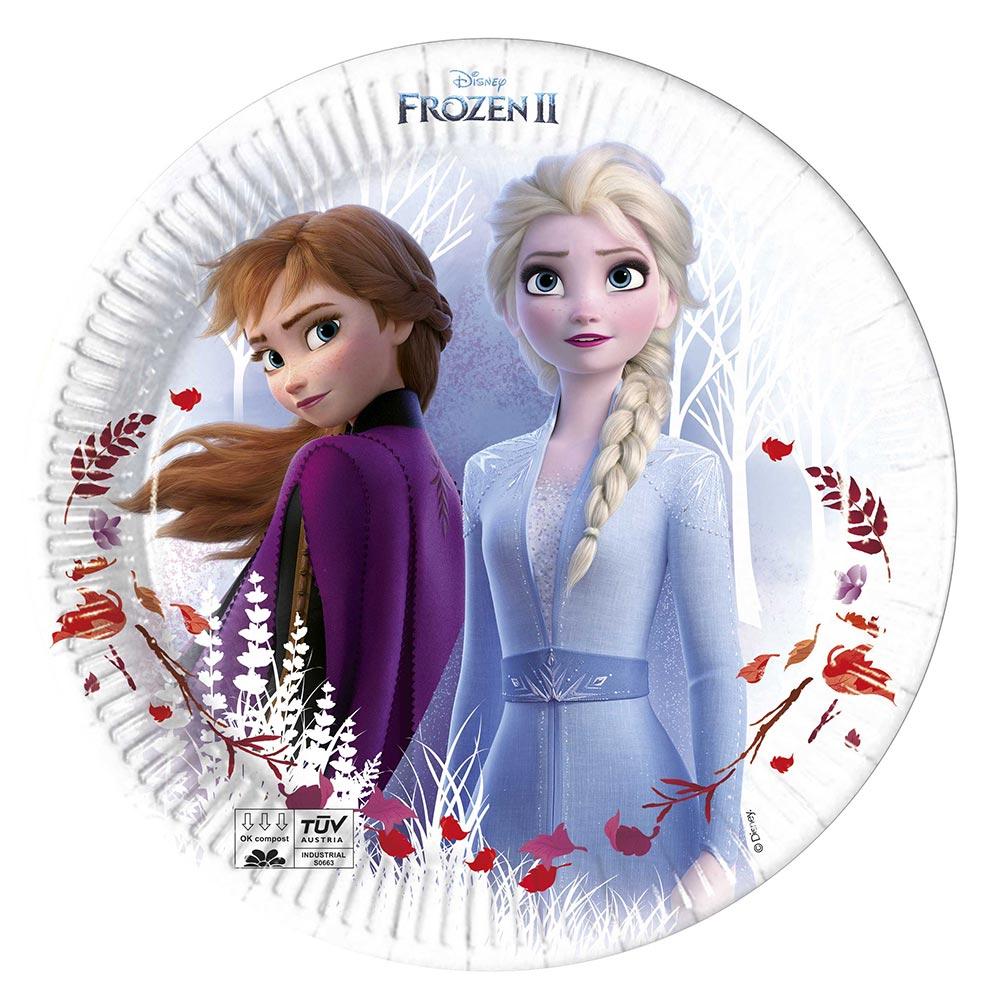 Juego de 8 Platos Frozen 2 Elsa y Anna 20 cm