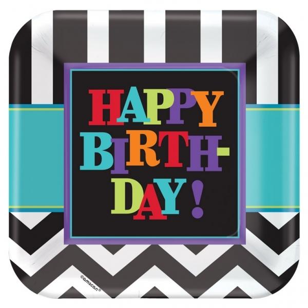 Juego de 8 Platos Happy Birthday