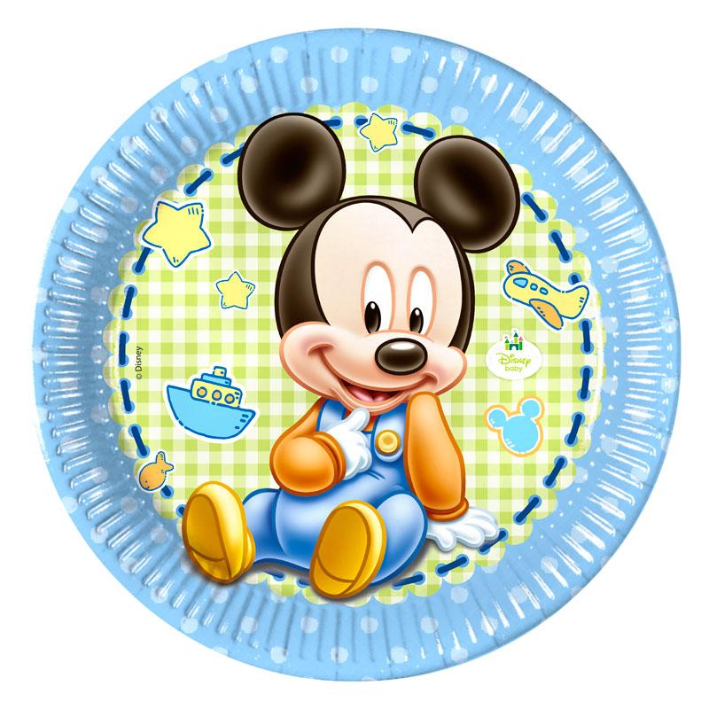 Juego de 8 Platos Mickey Bebé 22 cm