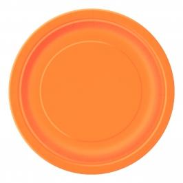 Juego de 8 Platos Naranjas 22 cm