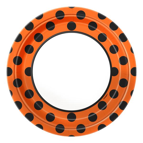 Juego de 8 platos naranjas con lunares negros 22cm