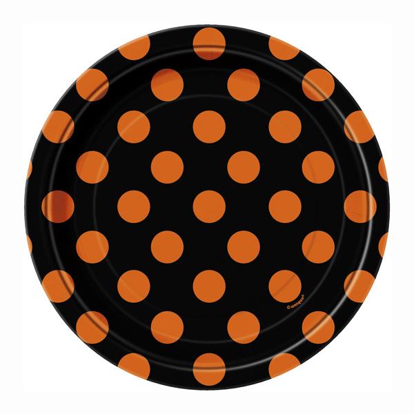 Juego de 8 platos negros con lunares naranjas 17cm