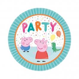 Juego de 8 Platos Peppa Pig Cumpleaños 23 cm