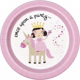 Juego de 8 Platos Princesa y Unicornio 22 cm