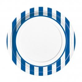 Juego de 8 Platos Rayas Azul Royal 22 cm