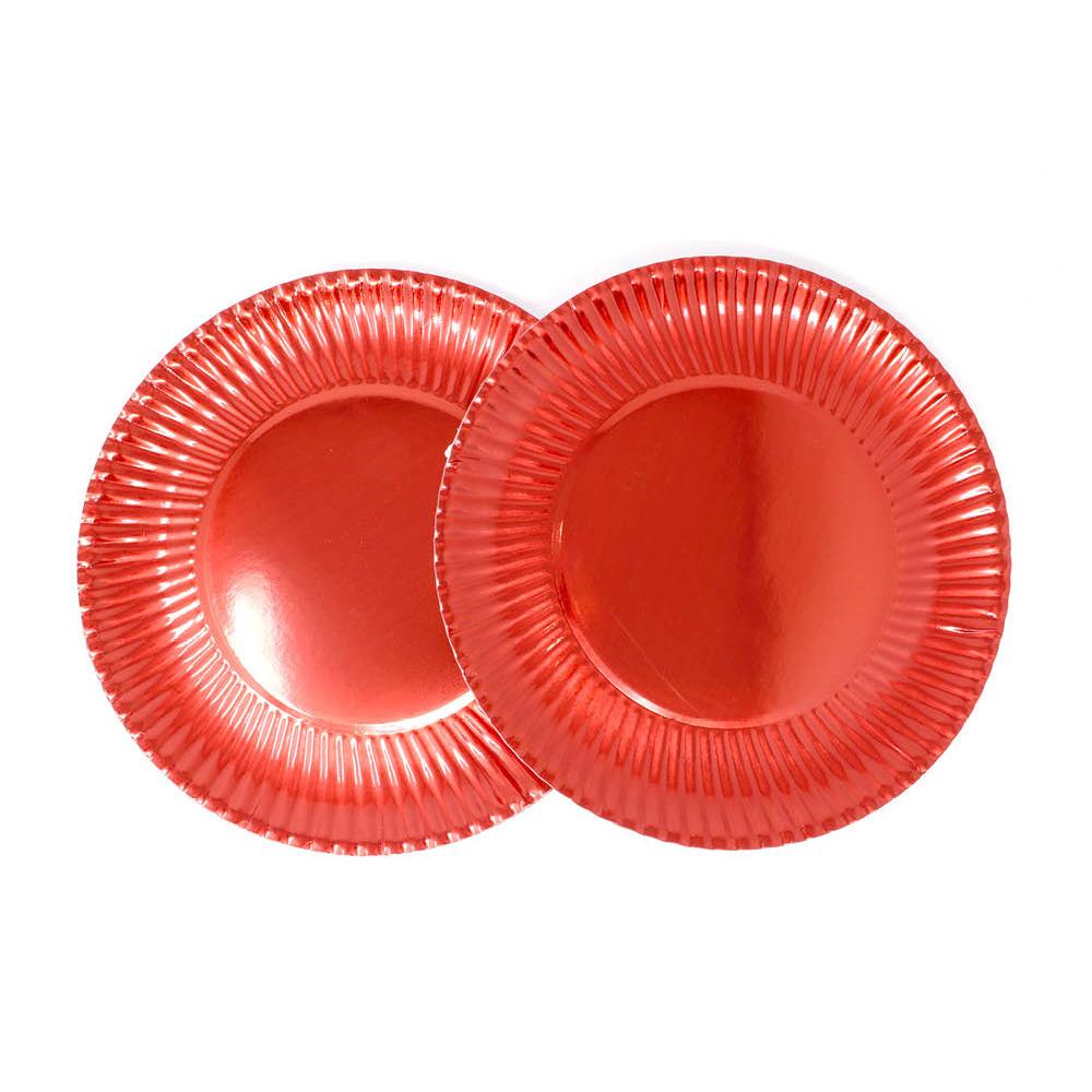 Juego de 8 Platos Rojos 29 cm