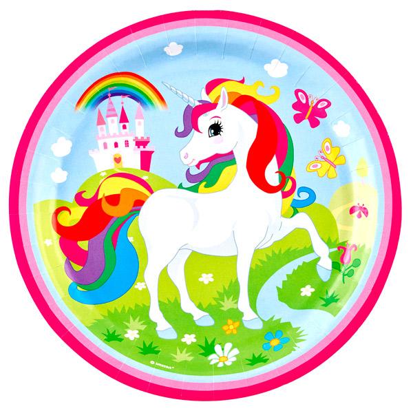 Juego De 8 Platos Unicornio 23 Cm Comprar Online