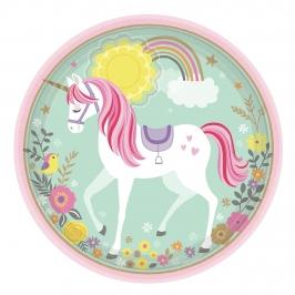 Juego de 8 Platos Unicornio Mágico 22 cm