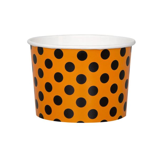 Juego de 8 tarrinas naranjas con lunares negros
