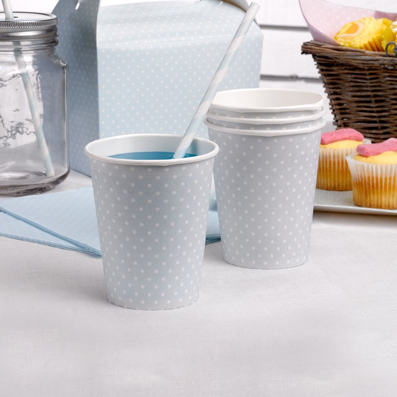 Juego de 8 Vasos Azul Pastel con Lunares