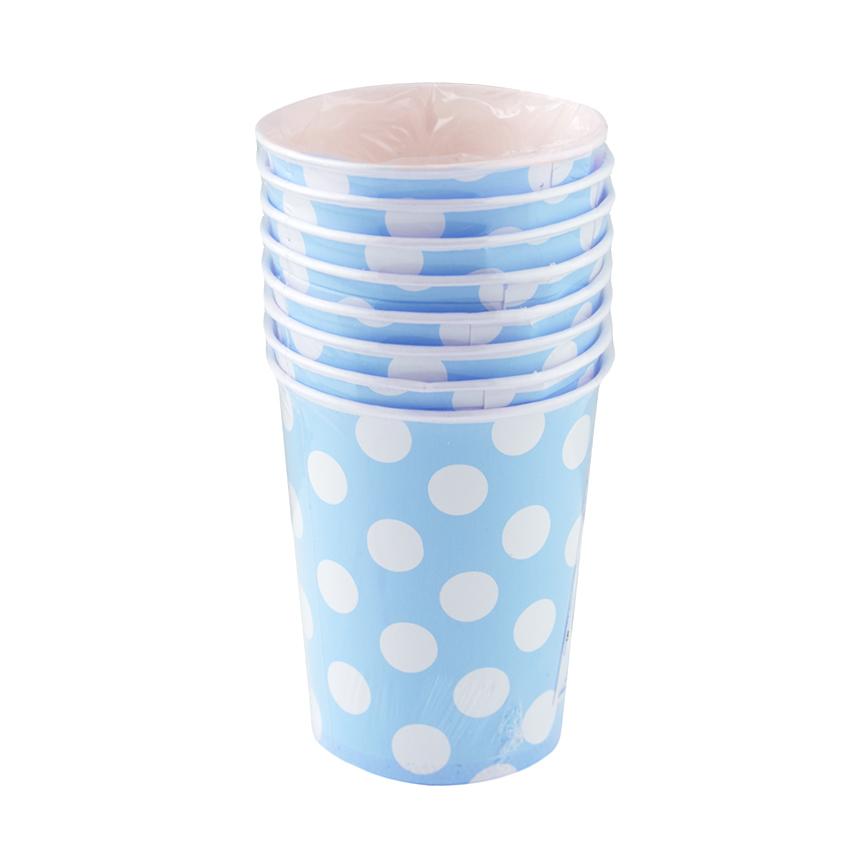 Juego de 8 Vasos Azules con Lunares Blancos - My Karamelli