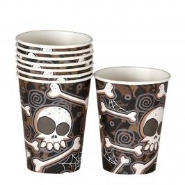 Juego de 8 Vasos Calaveras y Huesos Halloween