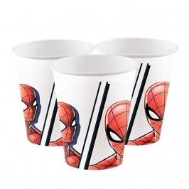 Juego de 8 Vasos Cartón Spiderman Team Up