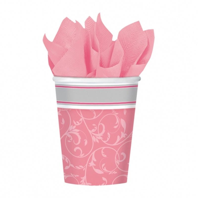 Juego de 8 vasos comunión rosa