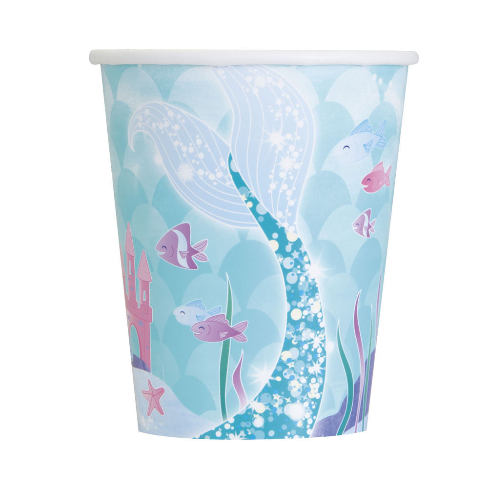 Juego de 8 vasos de cartón de sirena de 270 ml