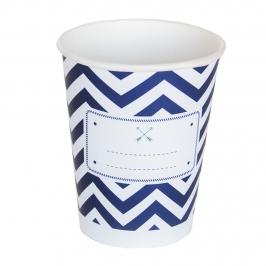 Juego de 8 vasos de cartón en tonos azul marino y blancos de 220 ml