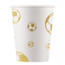 Juego de 8 vasos de fútbol con balones de oro de 200 ml