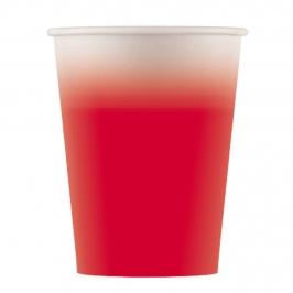 Juego de 8 vasos de papel rojo rosado de 200 ml