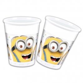 Juego de 8 vasos de plástico de Los Minions de 200 ml