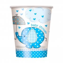 Juego de 8 Vasos Elefante Azul
