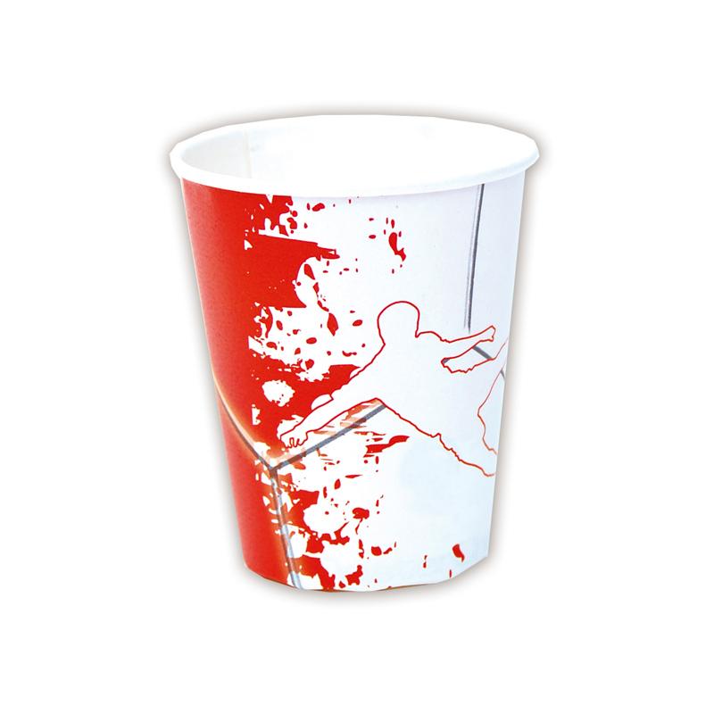 Juego de 8 Vasos Fútbol Rojo y Blanco